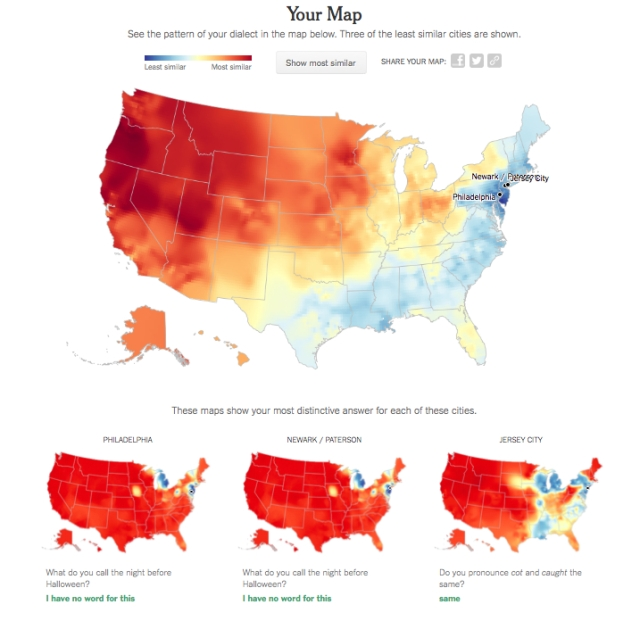 I am least similar dialectically to these places in the USA.