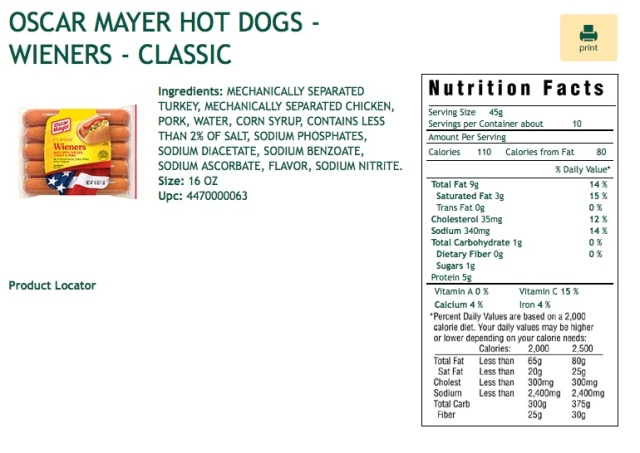 This is a screenshot of the ingredients and nutritional information for the Oscar Mayer Classic Hot Dog-Weiner. The original can be found here.